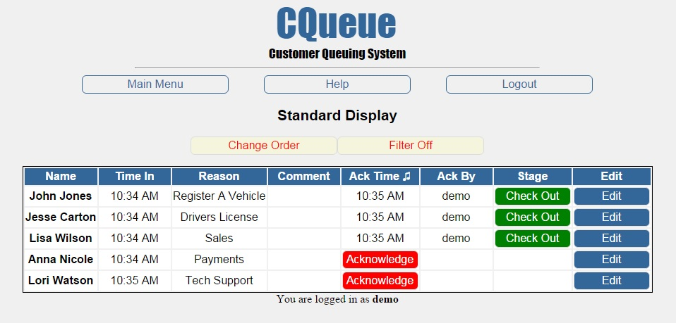Desktop view of customer queues